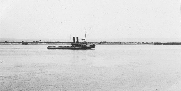 Steaming up river, 29/3/1935.