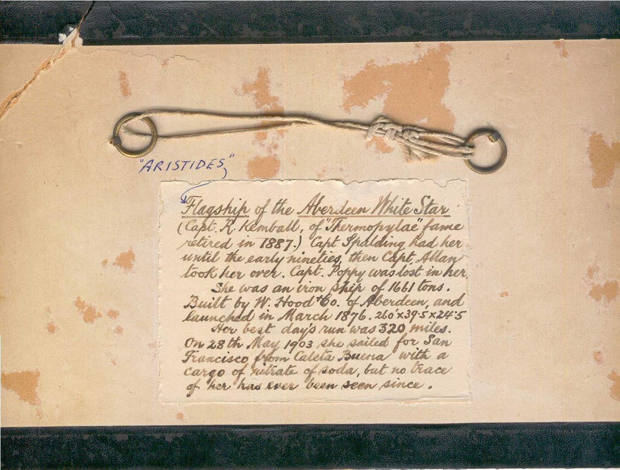 """Card which was evidently the backing for a frame photograph of the full rigger """"Aristides"""""""