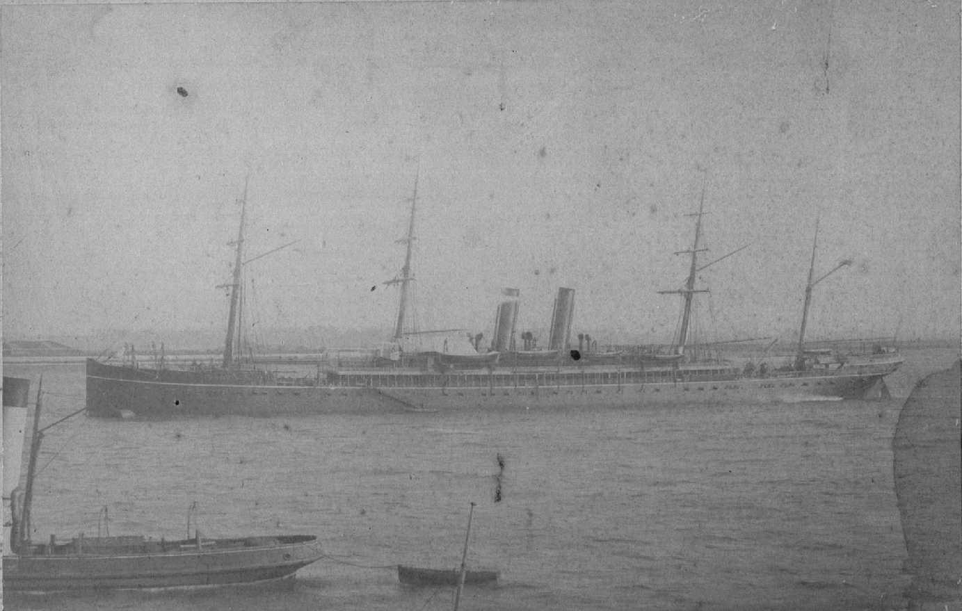 """Passenger Liner """"Carthage"""", built in 1881 of iron due to the scarcity of steel.  Built for the P&O company """"Carthage"""" and """"Rome"""" were the first P&O ships over 5,000 ton gross and were designed for the Australian trade, their passenger accomodation was ami"""