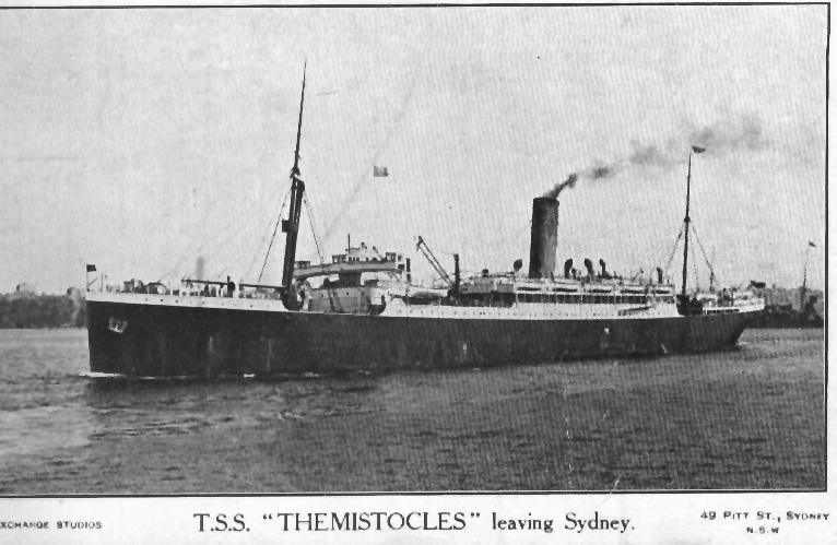 """Passenger Vessel """"T.S.S. Themistocles"""".  Built in 1911 by Harland & Wolff Ltd - Belfast, for G. Thompson & Co.  Vessel was broken up in 1947. Official number:  129349 Port Of registry:  Aberdeen Tonnage:  11231 gross Dimensions:  length 501', breadth"""