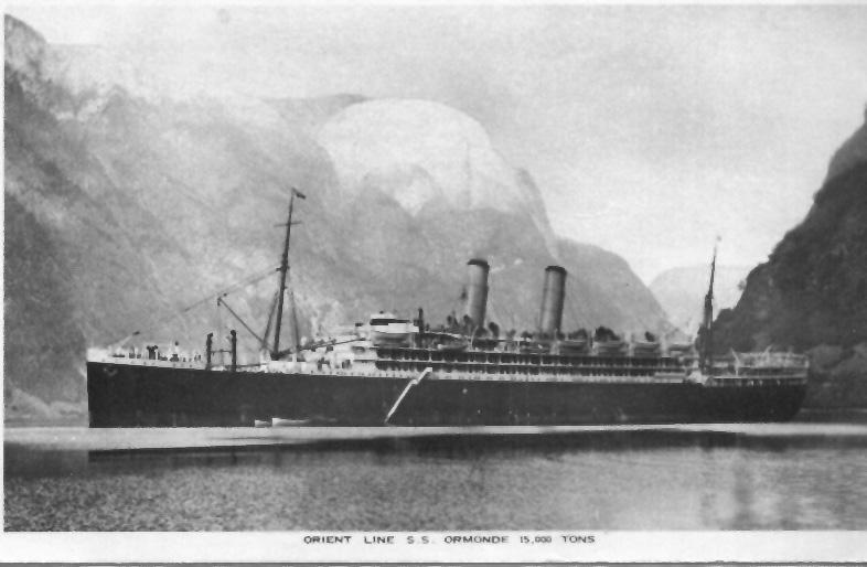 """Passenger Vessel """"Ormonde"""", launched February 1917 and completed in October 1917.  Built by John Brown & Co, Glasgow, Scotland.  This vessel took her inaugural voyage on 15 November 1918 from London - Brisbane.  Owned by Orient Line. Base Port:  London"""