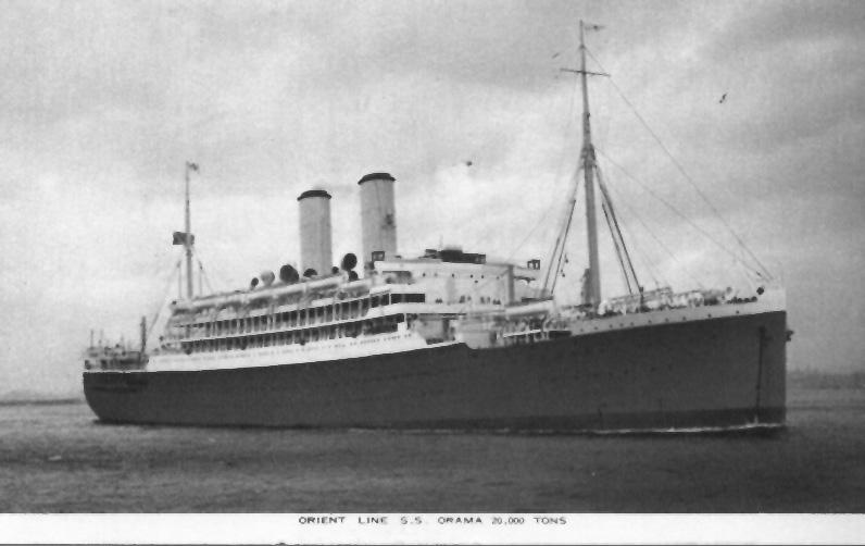 """Passenger vessel """"Orama"""", launched on 20-5-1924 by Miss Cook, and completed in October 1924.  Built by Vickers-Armstrong Ltd, Barrow-In-Furness, England.  Owned by Orient Line, she took her inaugural voyage on 15 November 1924 from London - Brisbane.  Ves"""