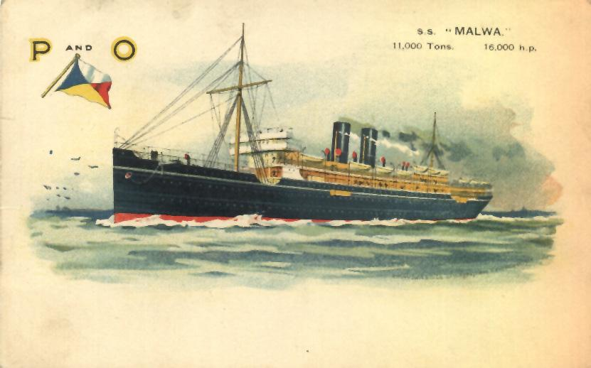 """Passenger Vessel """"S.S. Malwa"""".  Owned by P & O Steam navigation Co Ltd, she has a horse power of 16000.  Worked the India & ChinaMail and passenger service.  Tonnage:  11000   This image shows vessel on her maiden voyage on 6 - 3 - 1909."""