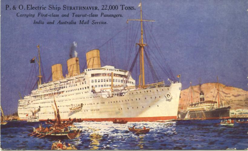 """Passenger vessel """"Strathnaver"""", built by Vickers-Armstrong Ltd, Barrow-In-Furness, England.  Launched on 5 February 1931 by Lady Bailey and completed in September 1931. Inaugural Voyage:  2 October 1931 (London - Sydney) Base Port:  London Gross Tonnag"""