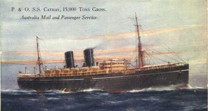 "Passenger vessel ""S.S. Cathay"", launched on 31 October 1924 by Countess Of Inchcape, and completed in March 1925.  Built by Barclay, Curle & Co, Glasgow, Scotland, she took her maiden voyage on 27 March 1925 from London - Sydney.