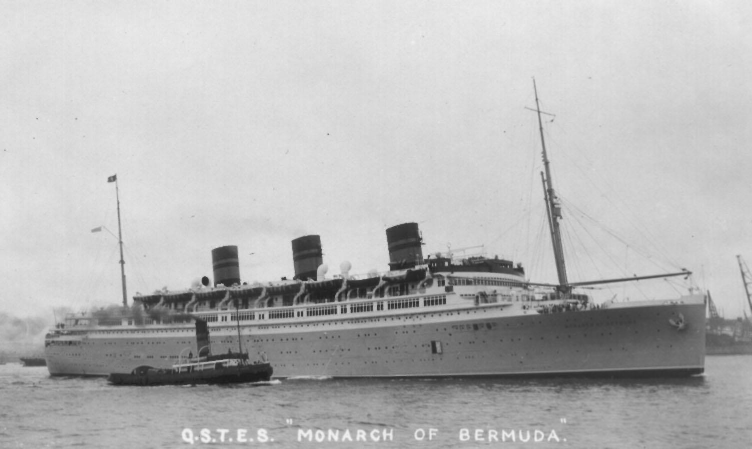 """Passenger Vessel """"Monarch Of Bermuda"""", built in 1931 by Vickers-Armstong Ltd - Newcastle.  Owned by Furness, Withy & Co. Ltd. Tonnage:  22424 gross, 12876 net Dimensions:  length 553'2"""", breadth 76'7"""", draught 39'0"""" Official Number:  29748 Port Of Reg"""