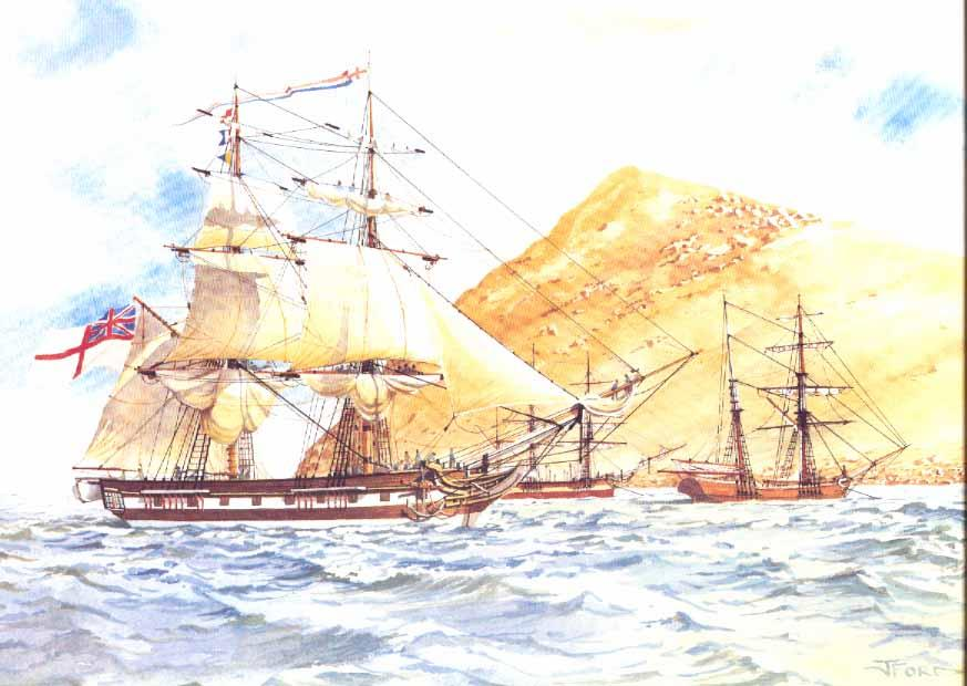 H.M.S.Victor (left) and the John Pirie at Victor Harbor, April 1837. By John Ford.