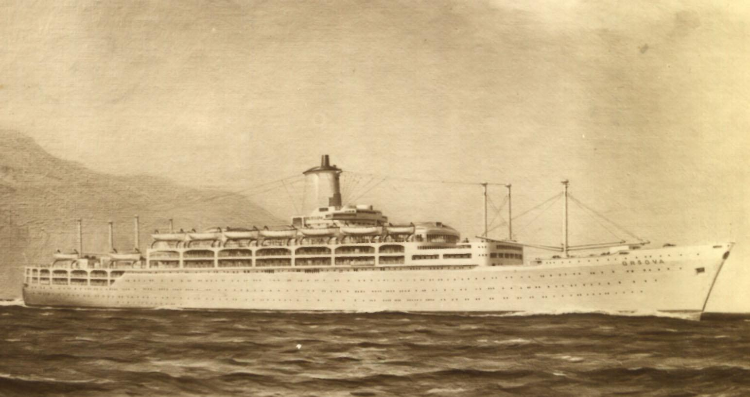 """Passenger Vessel """"S.S. Orsova"""", launched on 14 May 1953 by Lady Anderson and completed in February 1954.  Built by Vickers-Armstrongs Ltd - Barrow-In-Furness, England.  She took her inaugural voyage on 17 march 1954 from London to Sydney. Base Port:  Ini"""