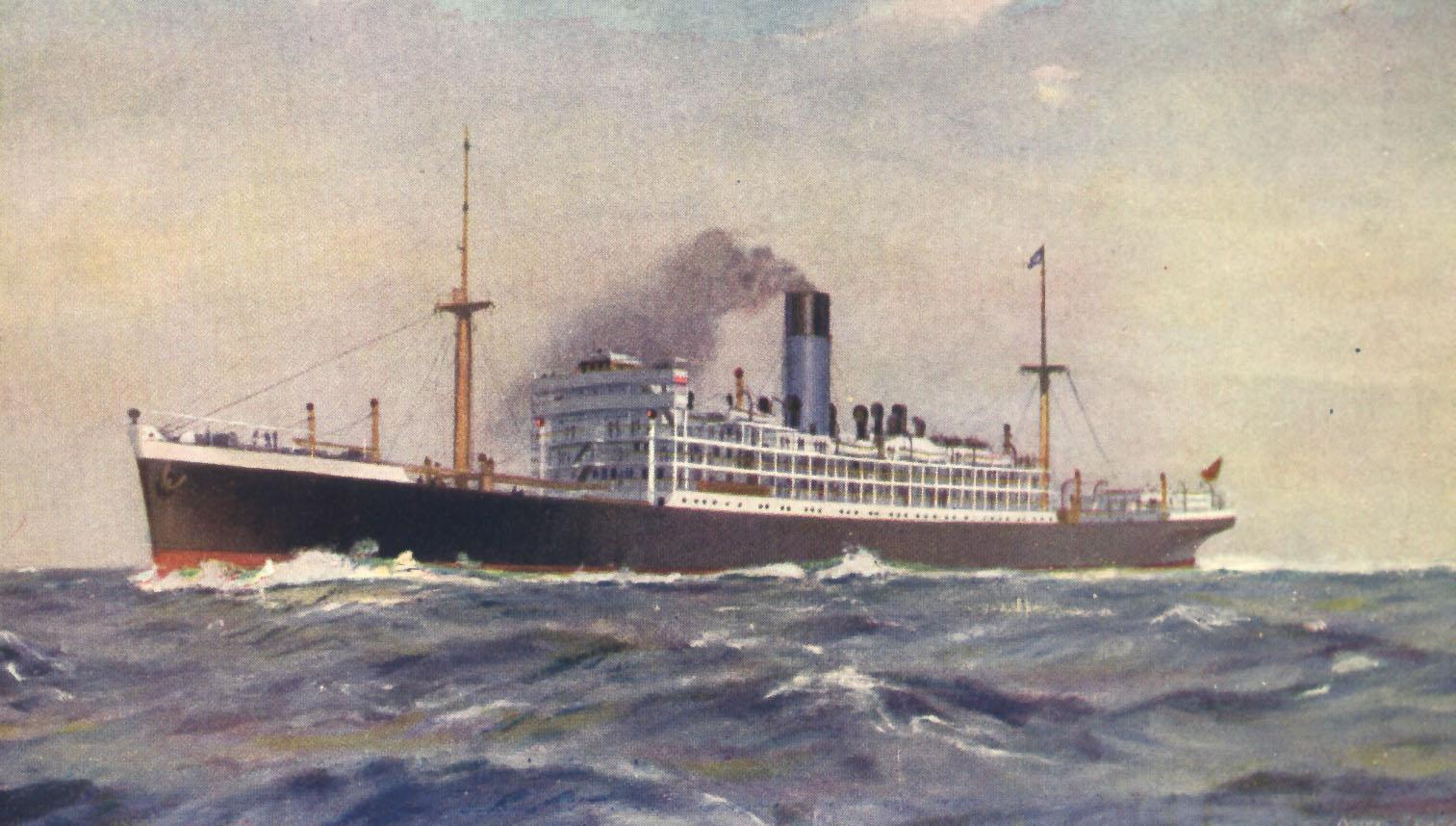 "Passenger Vessel ""Nestor"", built in 1912 by Workman & Clark & Co - Belfast.  Owned by Blue Funnel Line and worked route between UK - Australia - UK.  She took her first voyage in 1913 and in 1915 was commandeered as a troopship.  In 1920 she resumed servi"
