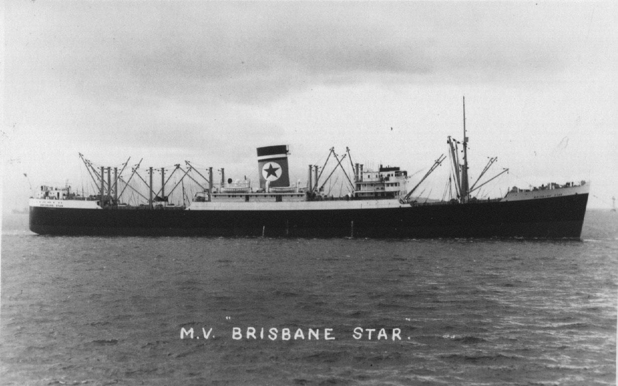 """Refrigerated Cargo vessel """"Brisbane Star"""", built  in 1937 by Cammell Laird & Co Ltd - Birkenhead.  Owned by Union Cold Storage Co Ltd and managed by Blue Star Line Ltd. Tonnage:  11076 gross, 6787 net Official Number:  165365 Dimensions:  length 530'0"""""""