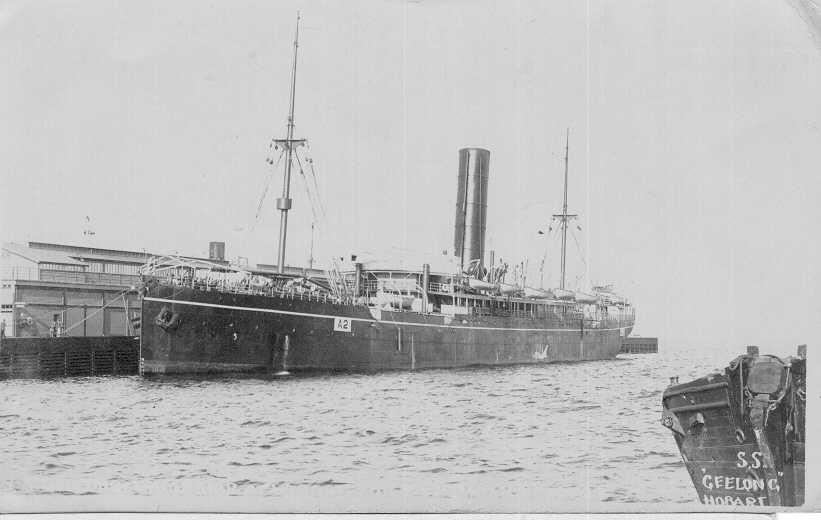 """Passenger Vessel """"Geelong"""", built in 1904 by barclay, Curle & Co Ltd - Glasgow.  Owned by Blue Anchor Line Ltd and managed by W Lund & sons.  """"Geelong"""" was the newest and largest of the five Blue Anchor Line ships purchased by P & O in 1910 and transferre"""