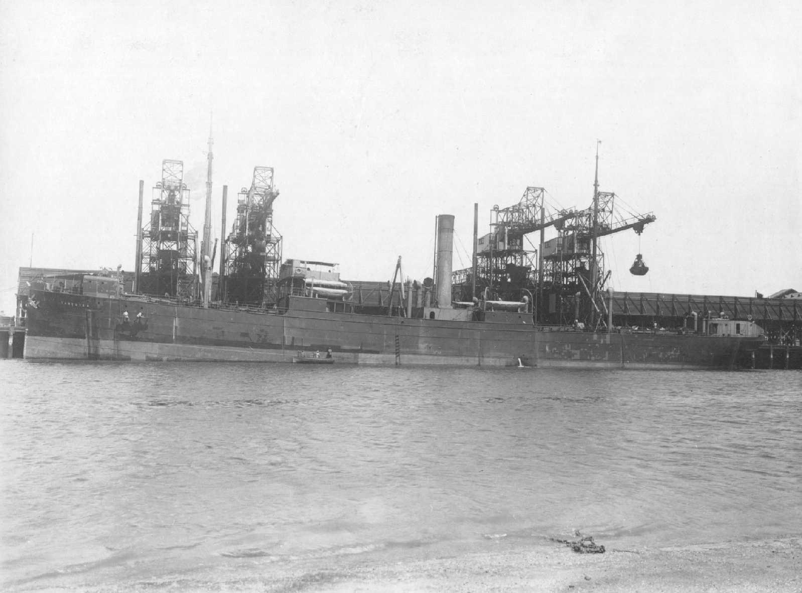 """Freighter """"S.S. Tarcoola"""", built at Newcastle-upon-Tyne in 1902 by Tyne Iron Shipbuilding Co Ltd, for the Adelaide Steamship Co Ltd.  She traded on the Australian Coast until sold to Australian Tramp Steamers of Hong Kong on 1st June 1932.  She was engage"""