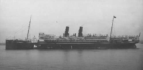 """Passenger vessel """"Mooltan"""", built  by Caird & Co - Greenock, Scotland.  She took her maiden voyage on 4 October 1905.  Owned by P & O and operated between Uk & Australia via Suez Canal.  In 1911 she participated inb Coronation Review and in 1914 was comma"""