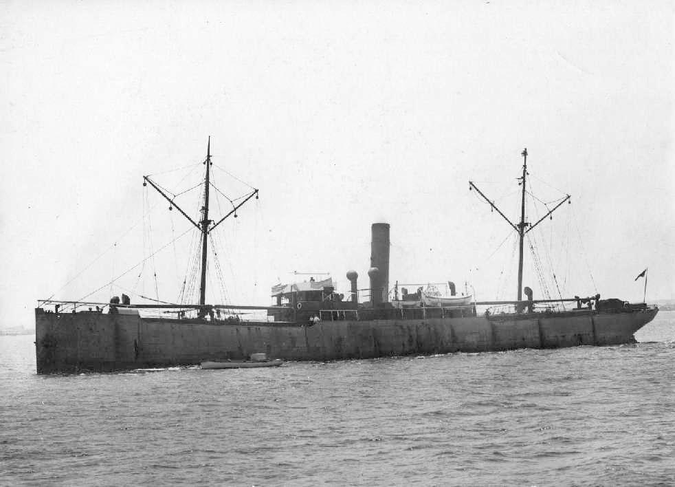 """Freighter """"Junee"""", built in 1907 at Glasgow, by Mackie & Thomson. Official Number:  117426 Tonnage:  2218 gross Dimensions:  length 301', breadth 42', draught 19'"""