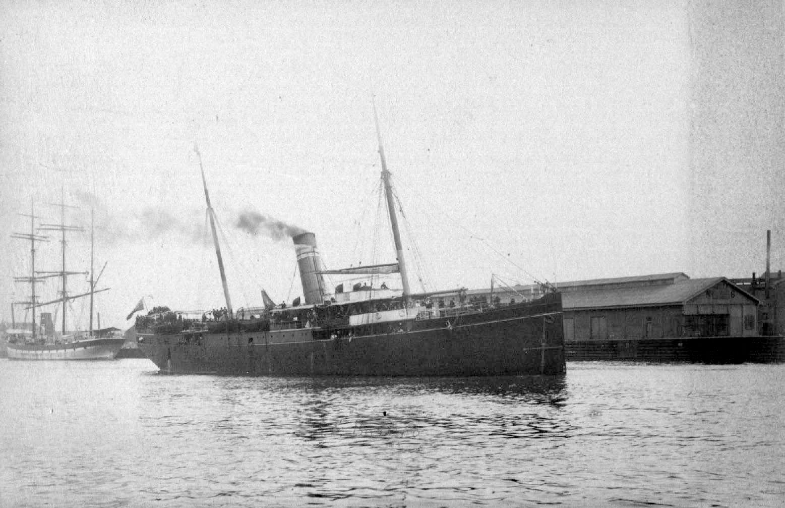 """General cargo vessel """"S.S. Barcoo"""", built in 1885 at Dumbarton by W Denny & Bros for Australasian United Steam Navigation Co Ltd.  She served on the Australian coast until she was hulked in 1911. Official Number:  91876 Dimensions:  length 250', breadth"""