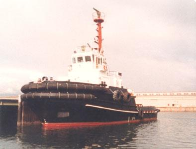 """Tug """"Tarpan"""", gross tonnage 427.  Built in 1984 by Tamar Ship building Pty Ltd - Launceston.  Official Number - 851326.  Owned by waratah towage Pty Ltd, Port Adelaide SA. Dimensions - length 32.31, breadth 10.90, draught 4.250m"""