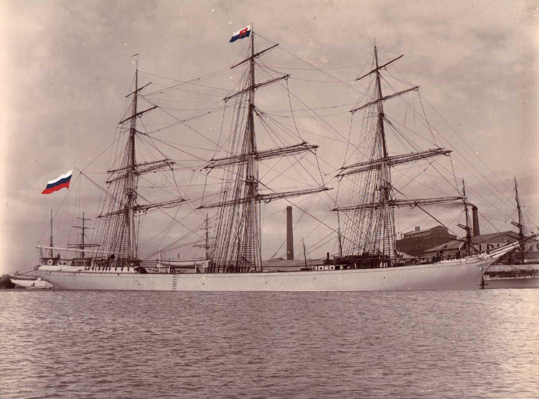 """Barque, """"Yarkand"""", built in 1877 at Barrow by Barrow Shipbuilding Co.  Owned by  E Bates & Sons. Official Number:  76483 Tonnage:  1352 gross Dimensions:  length 222', breadth 37', draught 22' Port Of Registry:  Liverpool"""