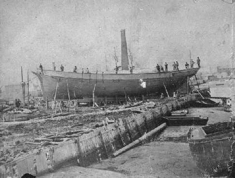"""Barque """"Lotus"""" built in 1874 at Port Adelaide.  1 deck, round stern carvel built vessel owned by T.F. Brecknall & partners, in 1883 by G.R & F Debny, in 1884 by E.W Russell.  On June 22 1892 at Port MacDonnell she was driven ashore in a gale and declared"""