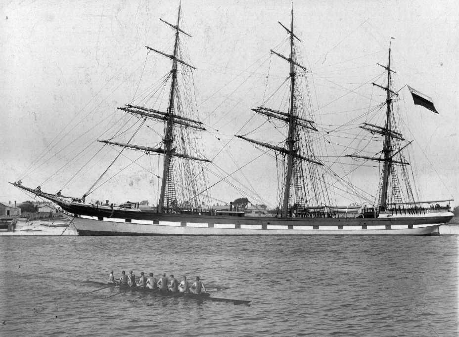 """Three masted full rigged iron ship """"Earl Of Zetland"""", built in 1875 at Dumbarton by A McMillan & Sons for J.D. & J Thomson, Reg:  Glasgow.  Vessel was bought by J.R. Menzies in 1880 and lated soild to Russian owners with no change of name and registered a"""