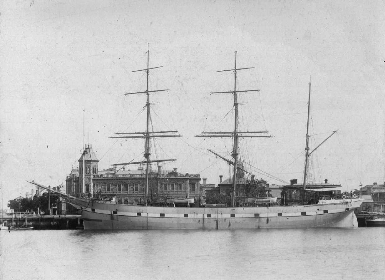 """Barque """"Halvar"""", built in 1891 by Murdoch and Murray at Glasgow. Tonnage:  910 gross Dimensions:  length 199', breadth 33', draught 18' Owner:  J Pettersson Port Of Registry:  Helsngborg Flag:  Swedish  This image shows vessel at Queen's Wharf, Por"""