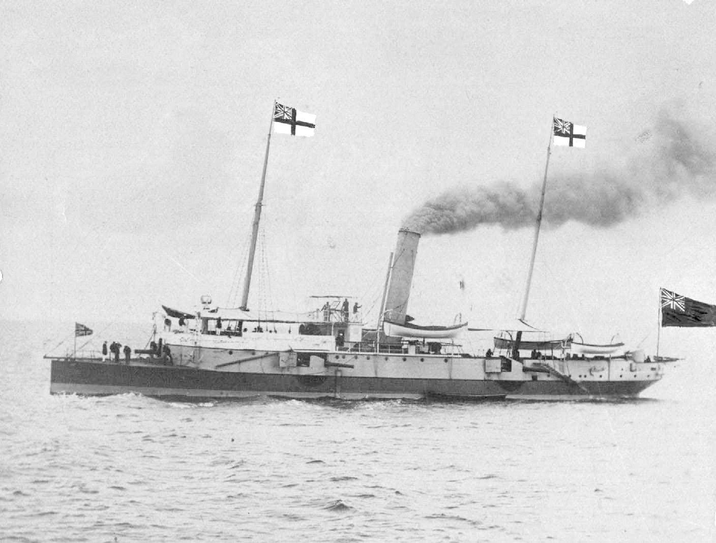 This small, heavily armed twin screw steel cruiser was built in 1883 at Newcastle-on-Tyne by William Armstrong & Co to the order of the South Australian Government.  She was commissioned on the 19th June 1884, (her captain was J.C.P. Walcot, RN) and was b