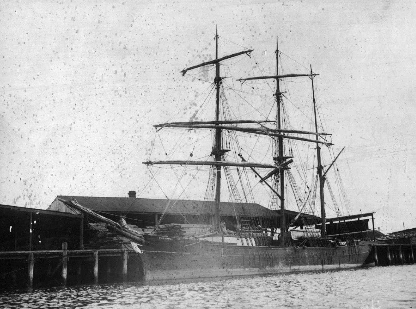 "Wooden Barque, ""Wild Wave"", built in 1875."