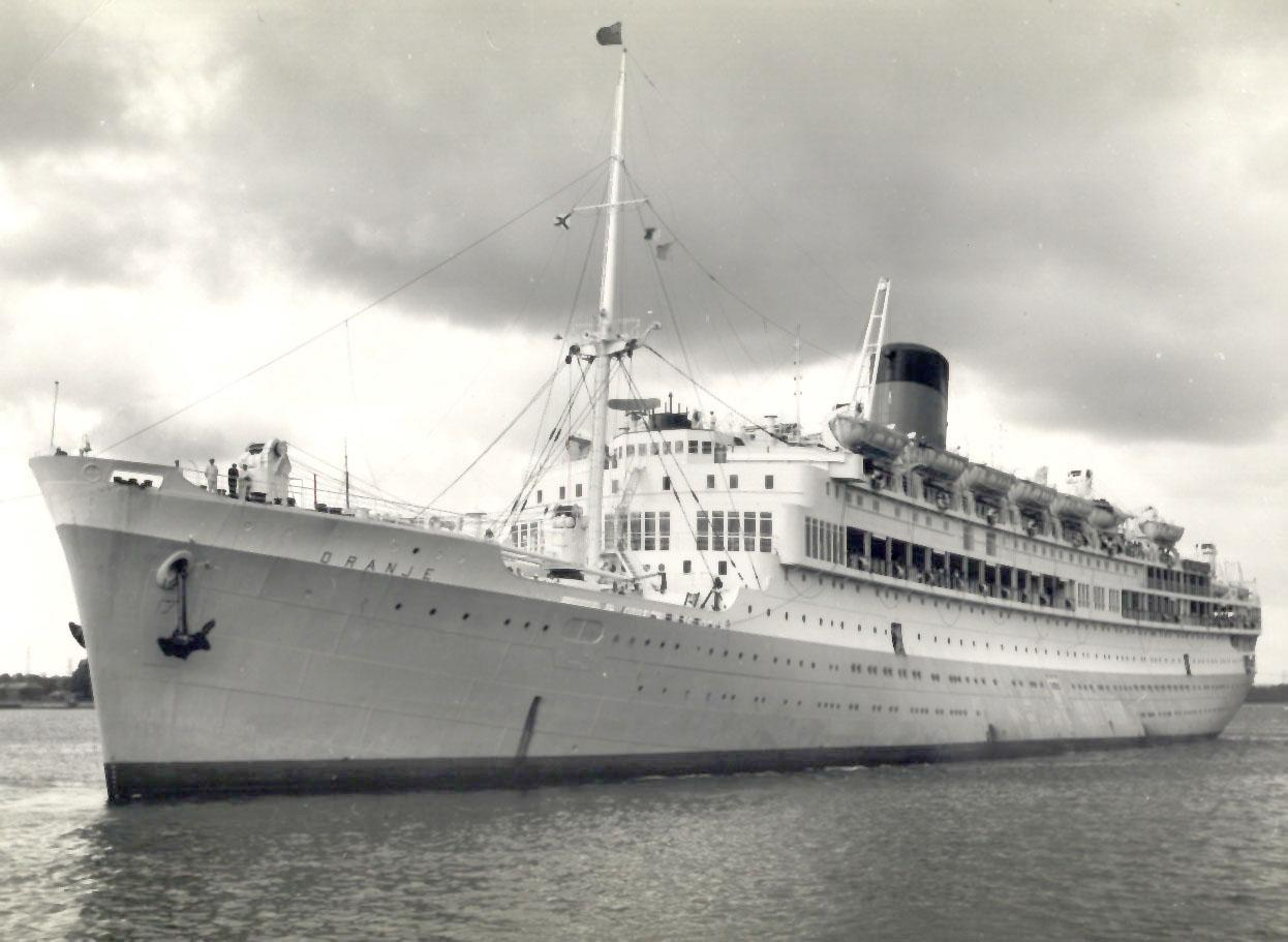 """Passenger vessel """"Oranje"""", built by Nederlandsche Scheepsbouw Maatschappij, Amsterdam, Netherlands.  Vessel was launched on 8 September 1938 by H.M. Queen Wilhelmina and completed in July 1939.  She took her inaugural voyage on 4 September 1939 from Amste"""