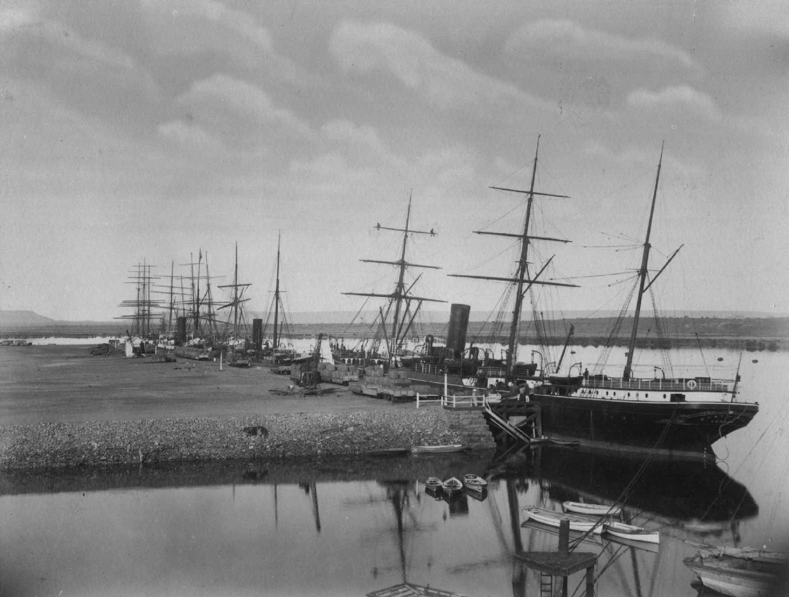 """Barque """"Rohilla"""" built in 1865 by A Stephen & Sons - Glasgow.  Owned by L.F. Mathies & Co.  Master - P Breckwoldt. Tonnage:  985 comp. Dimensions:  length 201'0"""", breadth 33'2"""", draught 20'5"""" Port Of Registry:  Hamburg  Iron Barque """"Oriana"""", built in"""