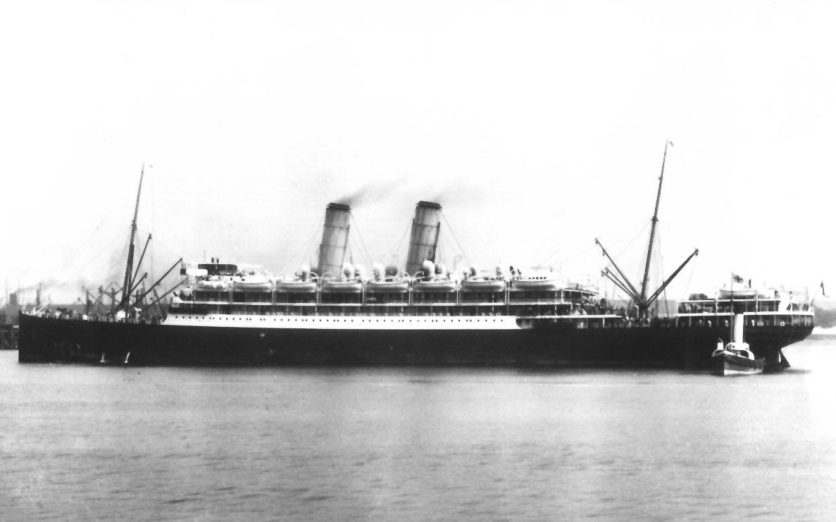 """Passenger vessel """"Orvieto"""", built by Workman, Clark & Co - Belfast. Vessel was launched on 6 - 7 - 1909 and completed in November 1909, she took her inaugural voyage from London to Brisbane on 26 - 11 - 1909.  Base Port:  London Gross Tonnage:  12133"""