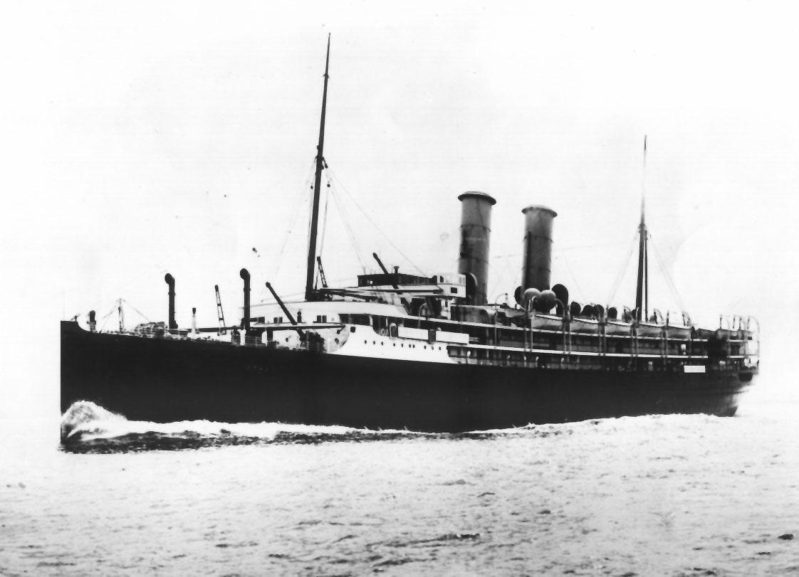 """Passenger vessel """"Otway"""", built in 1909 by Fairfield Shipbuilding & Engineering Co - Glasgow.  She took her maiden voyage on 9 July 1909 and thereafter operated the route between the Uk and Australia.  In 1915 she was commandeered as an armed merchant cru"""