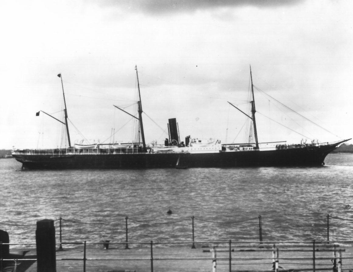 """Passenger vessel """"Lusitania"""", built in 1871 by Laird Brothers - Birkenhead.  Owned by Orient Steam Navigation Co Ltd. Official Number:  65888 Tonnage:  2494 net, 3877 gross Dimensions:  length 379'9"""", breadth 41'3"""", draught 35'2"""" Port Of Registry:  Li"""
