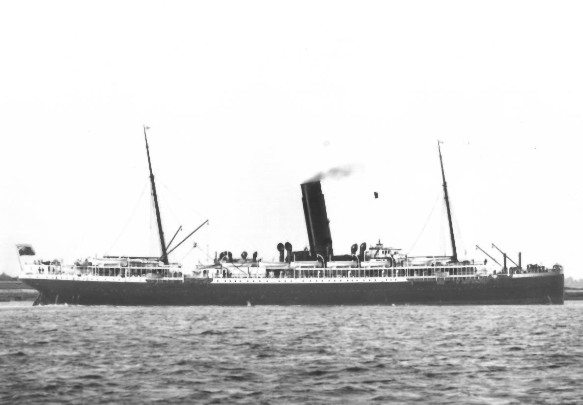 """Passenger vessel """"Omrah"""", built in 1899 by Fairfield Shipbuilding & Engineering Co - Glasgow.  She took her maiden voyage on 3 February 1899 and operated the route between UK and Australia.  In 1916 she was commandeered as a troopship.  In 1918 she was to"""