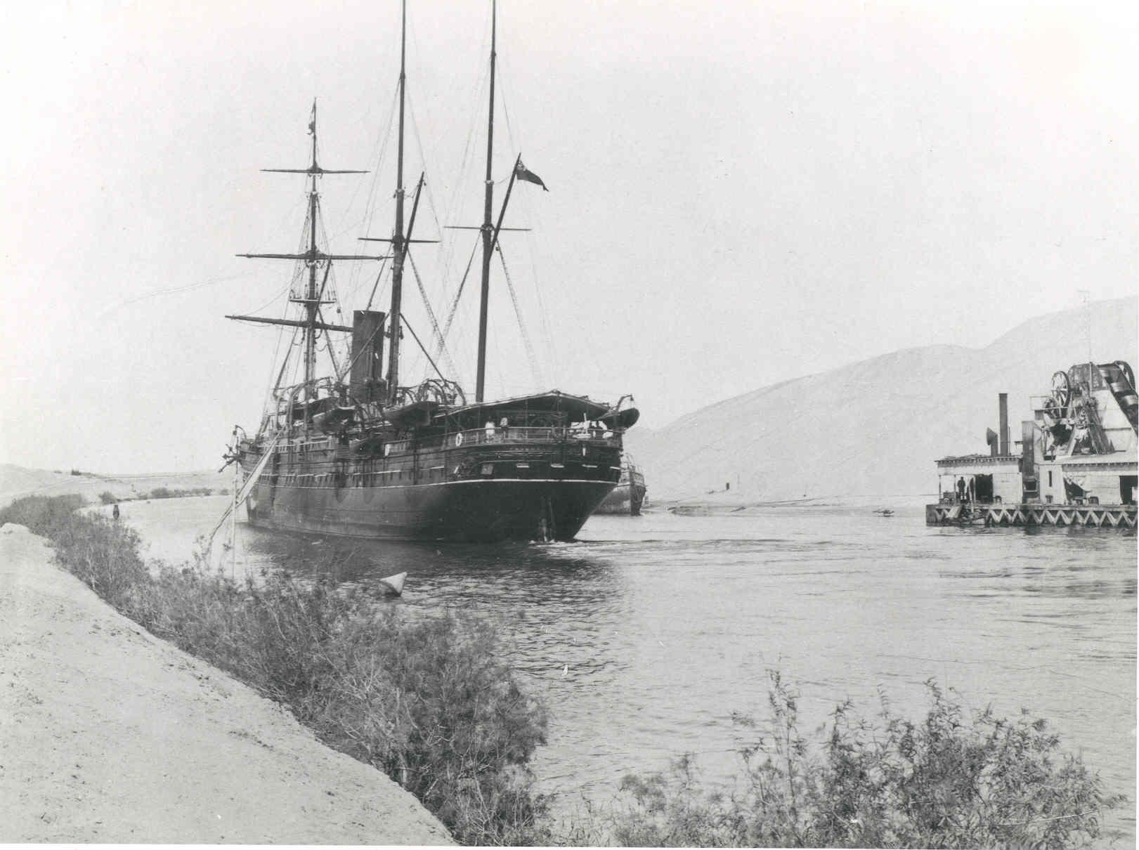 """Iron Screw Steamer """"Peshawur"""", built in 1871 by Caird & Co - Greenock.  Owned by P & O Steam Navigation Co until 1899 when she was sold for further trading. Tonnage:  3748 gross, 2158 net Official Number:  65641 Dimensions:  length 378')' ,breadth 42'7"""
