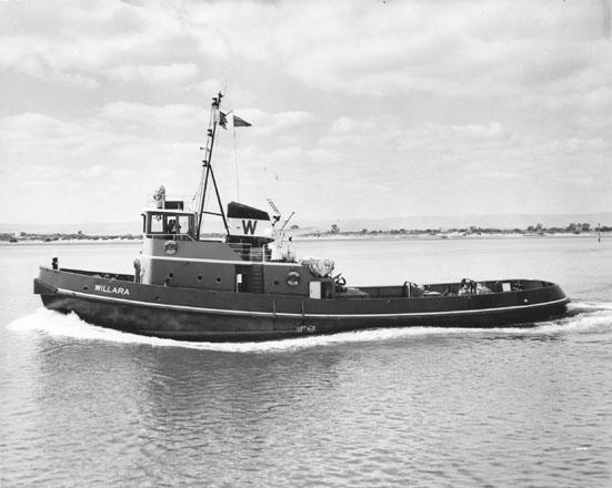 """Tug """"Willara"""", built in 1962 by Adelaide Ship Construction Ltd.  Owned by Waratah Tug & Salvage Co Pty Ltd.  Official Number:  316109 Tonnage:  242 Dimensions:  length 105'10"""", breadth 28'2"""", draught 12'.5"""" Port Of Registry:  Sydney Flag:  British"""