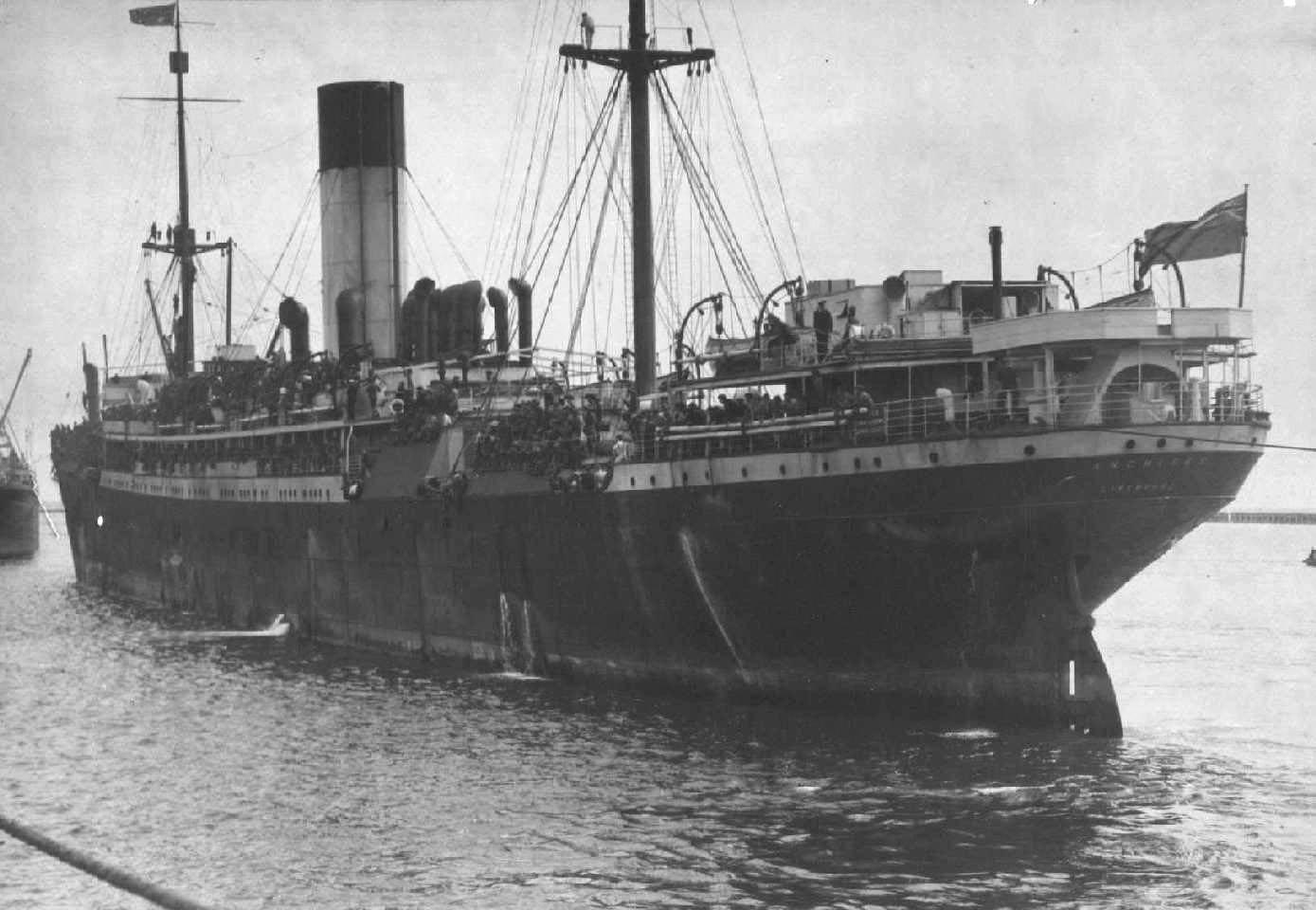 """Passenger Cargo vessel """"S.S. Anchises"""", built in 1911 in Belfast by Workman, Clark & Co for A Holt  Ocean Steamship Co.  A steel twin screw steamer.  Tonnage:  10,046 gross Dimensions:  length 493', breadth 60', draught 29' Official Number:  131320"""