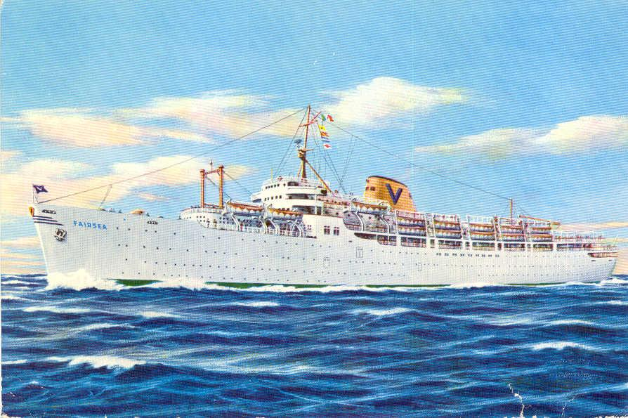 "Passenger vessel ""Fairsea"", built in 1941 by Sun Shipbuilding & Drydock Co, Chester, PA, and launched as  a cargo liner ""Rio De La Plata"" for Moore-McCormack Line (United States).  Completed as an escort aircraft carrier ""USS Charger"".  Bought by Sitmar L"