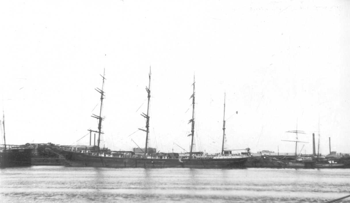 """""""C.B. Petersen"""", a steel 4 masted Barque, built in 1891 in Pertusola by Continental Lead & Iron Co Ltd.  Owned by Rederi A'B Portunas, managed by Alex Pedersen.  Official Number:  127097 Tonnage:  2142 gross, 1843 net Dimensions:  length 289'0"""", bread"""