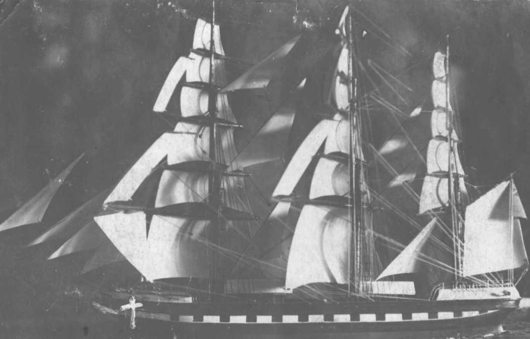 """3 masted full rigged iron ship """"Glengarry"""", built in 1873 at Liverpool by Royden for W Alexander & Co.  Tonnage:  1769 gross Official Number:  69317 Dimensions:  length 257', breadth 42', draught 24' Port Of Registry:  Liverpool"""
