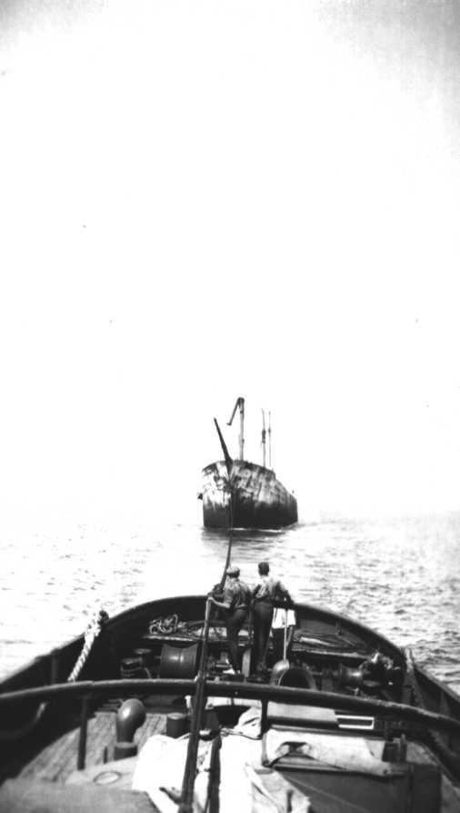 This image shows vessel under tow.