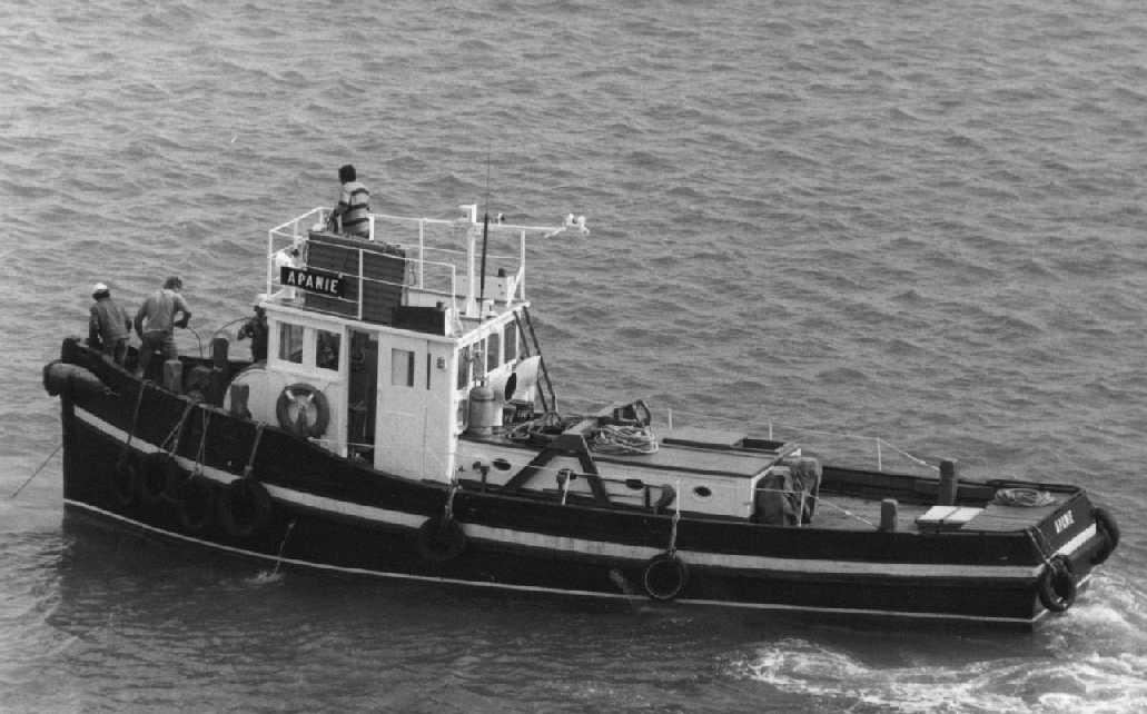 Funnel is buff with a black top and the hull is black with red boot-topping.