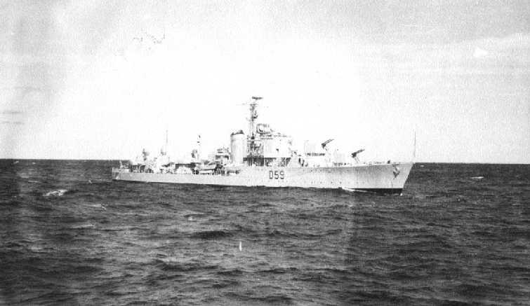 Battle class destroyer, commissioned on 14/3/1951, built at Williamstown.  This class was the first British destroyer with all armament forward.  In July 1951 Anzac sailed to Japan to join the U.N. forces in the Korean war.  After screening duties she ope