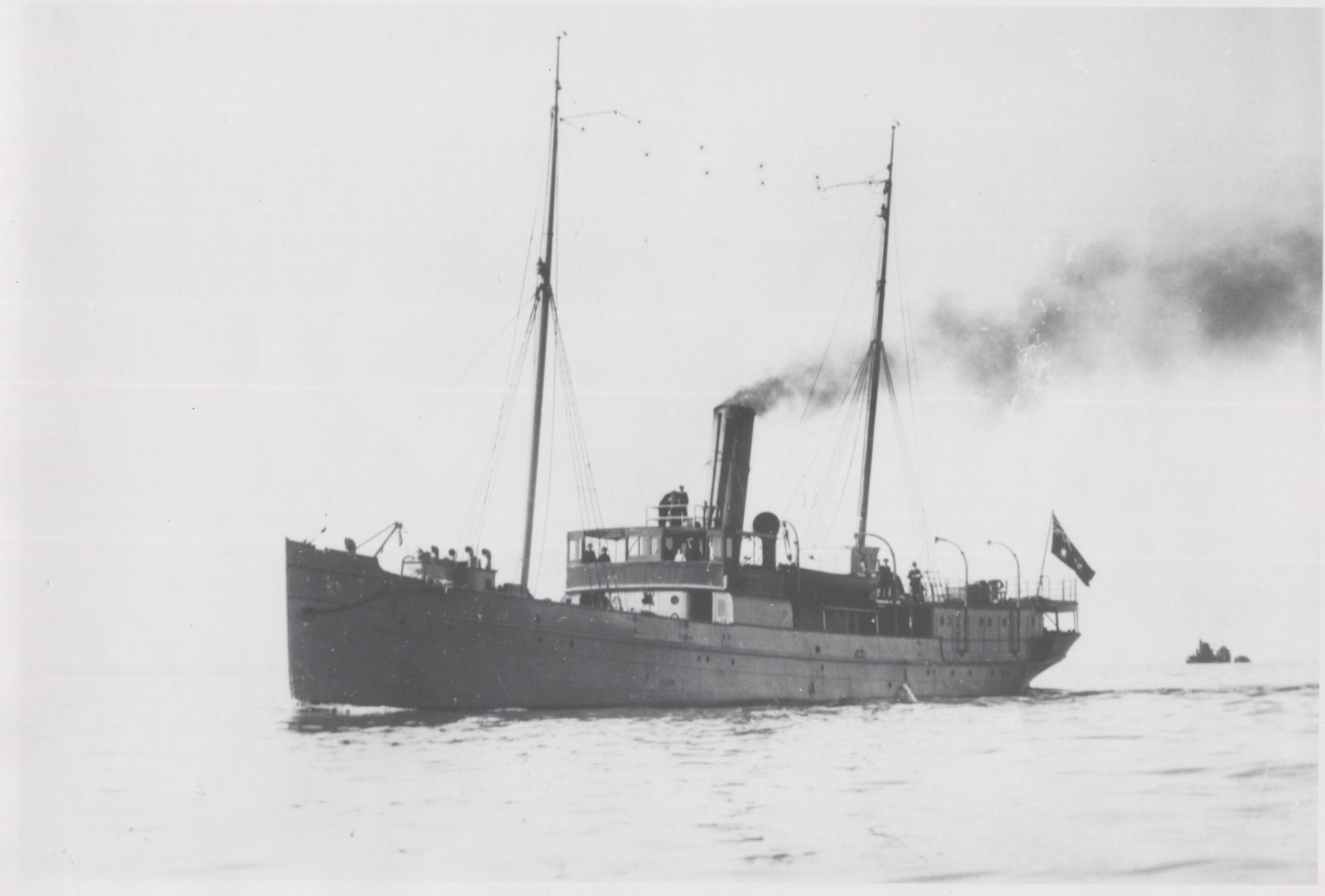 """Lighthouse Tender, """"Lady Loch"""", ex Gunboat.  Built in 1886 by Campbell, Sloss & McCann in Footscray, Melbourne for  the Victorian Dept. Of Public Works.  Iron Steamship of 531 tons.  Built for use as a lighthouse tender and serviced lighthouses around the"""