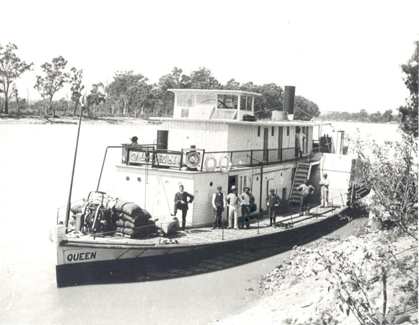 """Paddle Steamer """"Queen"""" is described in R Parsons' book """"Paddle Steamers of Australasia"""" as an iron ship with 1 deck, elliptic stern and straight stem.  Changed ownership often within South Australia and was used on the Murray River.  Built in 1865 by S Sh"""