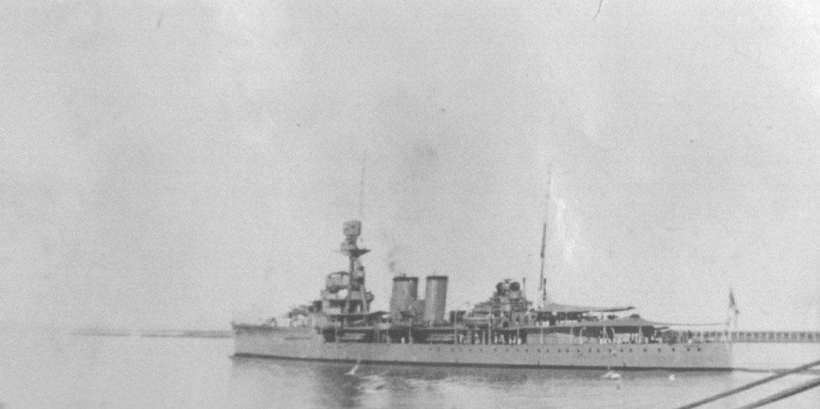 Naval vessel in port