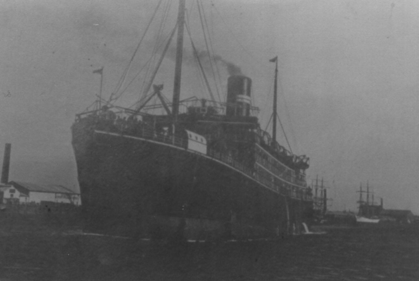 This image of vessel taken at Port Adelaide. Refer  - Passenger Ships of Australia and New Zealand by Peter Plowman  Volume 1 1876-1912.