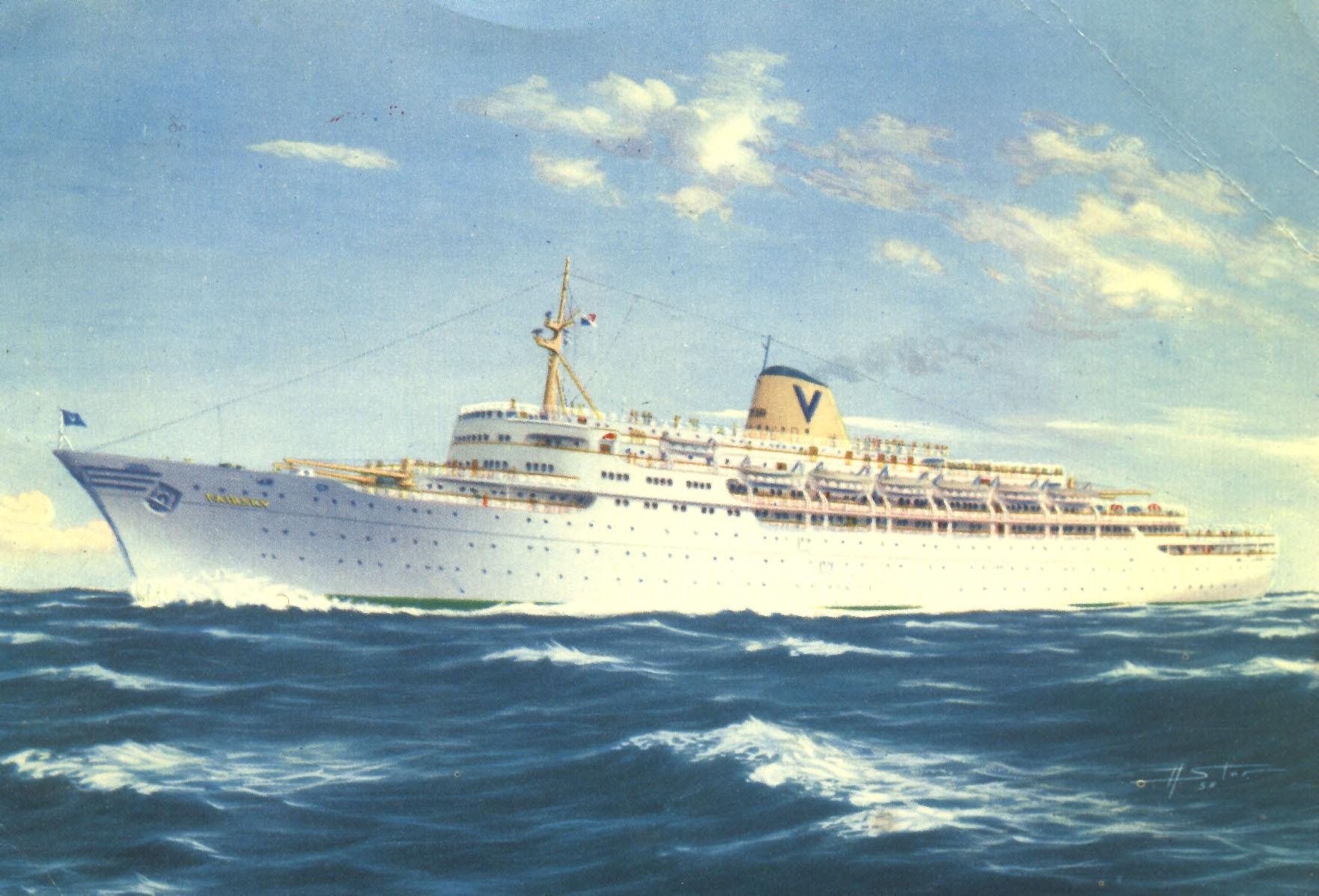 """Passenger Liner """"Fairsky"""" laid down by Western Pipe & Steel Co, san Fransisco as cargo liner STEEL ARTISAN; completed as escort aircraft carrier USS BARNES.  Transferred to Royal Navy 1942; renamed HMS ATTACKER.  Returned to US Navy 1946.  Bought by Simta"""