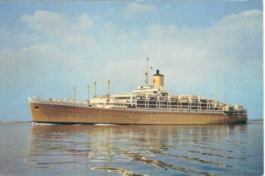 """Passenger Vessel """"Orcades"""", built by Vickers Armstrong in Barrow-In-Furness, England and launched on 1 December 1936 by Mrs I.C. Geddes.  Vessel was completed in July 1937 and had her inaugural voyage on 9 December 1937 from London - Brisbane. Base port:"""