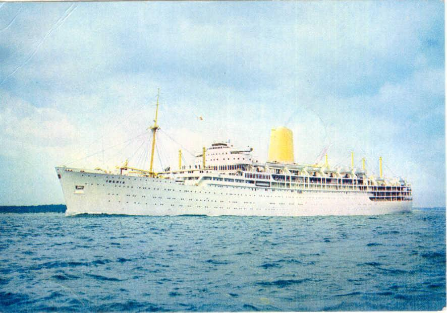 """Passenger Vessel """"Iberia"""", built by Harland & Wolff, Belfast.  M.V. London-bombay, Colombo, Melbourne ands Sydney, 28 September 1954.  Badly damaged in collision with tanker STANVAC PRETORIA off Colombo, 27 March 1956.  Voyage extended to include transpac"""