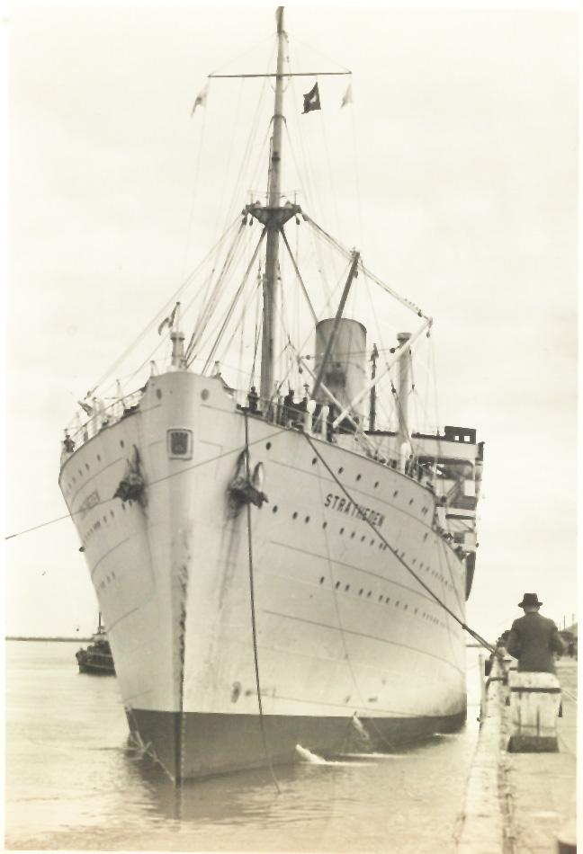 """Built by Vickers Armstrong, Barrow -In-Furness, England in 1937.  First owned by P&O untl 1964 when bought by John Latsis.  """"Stratheden had her maiden voyage on 24 December 1937 and operated the route between UK and Australia via the Suez Canal.  In 1939"""