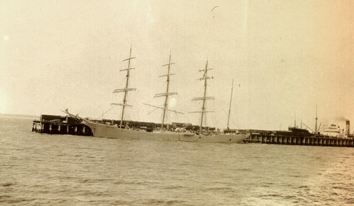 Steel 4 masted Barque built in 1892  This image of the vessel taken in Spencer Gulf as she left Wallaroo with wheat.